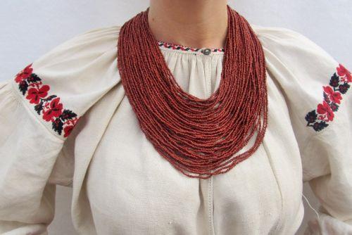 """Ожерелье из бисера """"Темная керамика"""""""