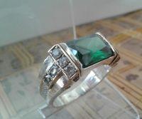 """Серебряное мужское кольцо """"Elegant"""" с изумрудом 21,5 размер"""
