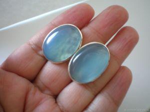 Блакитні сережки Срібні сережки з халцедону натурального