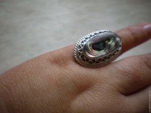 Rings Срібна каблучка з галіотісу натурального
