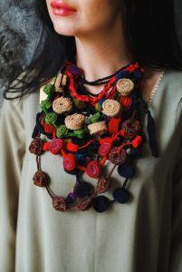 Ожерелье из шерсти Текстильное украшение