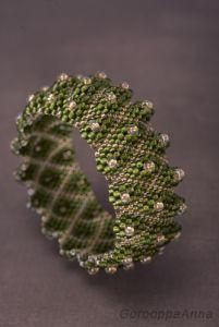 Браслети ручної роботи Рельєфний браслет золотисто-зелений