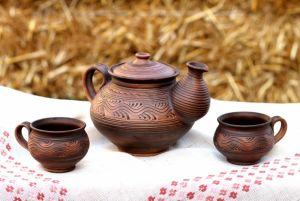 Керамика ручной работы Чайник и чашки для чая