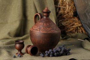 Ceramics Бутель для вина та стаканчики на ніжці