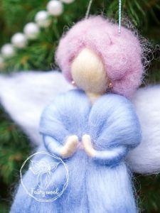 Куклы ручной работы Фея украшение на елку из шерсти. Ангел кукла в технике фелтинг