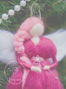 Разное Розовый ангелочек-оберег. Валяная фелтинг кукла. Подарок на крестины, новый год, Николая