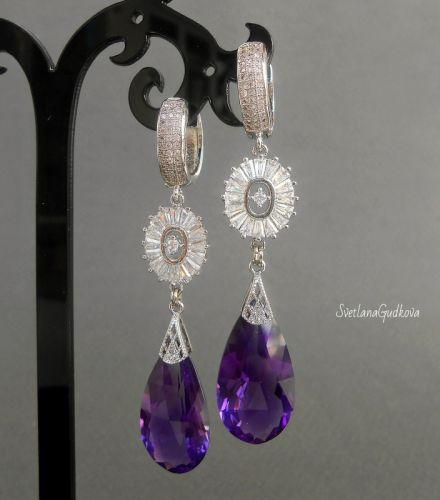 Серьги с аметистом Purple Violet