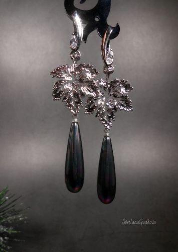 Серьги с жемчужинами Серебряные Листья