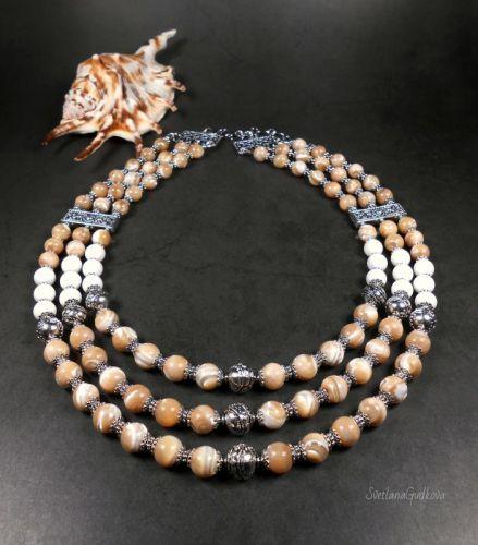 Ожерелье из перламутра Кофе Glyasse