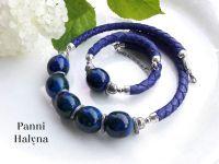 Комплект  украшений из натуральной кожи, синий.