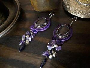 Серьги из бисера Серьги Фиолетовые с подвесками