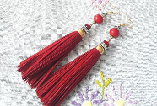 Серьги Красные с слоновой косточкой - изображение 1