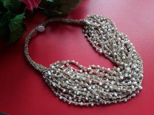 Ожерелья и колье ручной работы Золотисто-белое-2