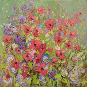 Нарисованные картины Полевие цвети