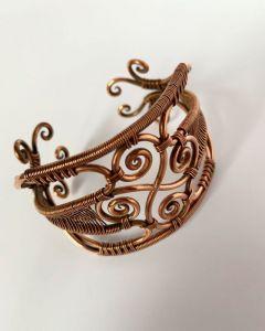 Браслети ручної роботи Мідний браслет зі свастею - солярним символом