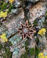 Медный кулон «Алатырь» с серебряной спиралью в центре