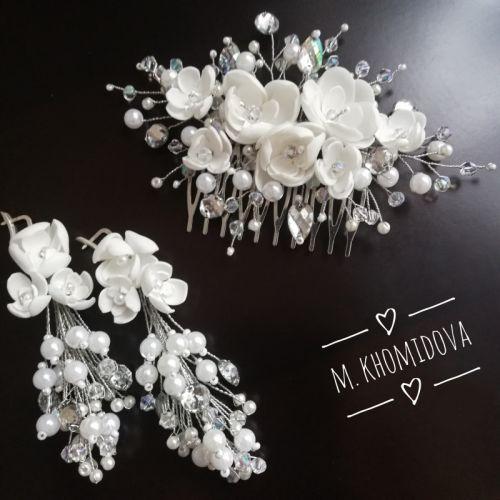 Весільний набір гребінь і сережки