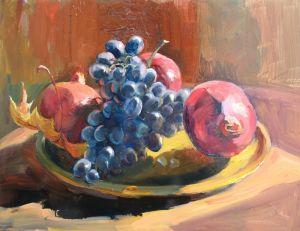 Нарисованные картины Гранаты и виноград