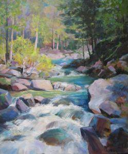Нарисованные картины Горная речка