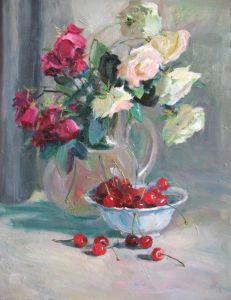 Нарисованные картины Натюрморт с розами