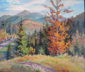 Нарисованные картины Осень в горах