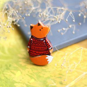 Червоний кулон Кулон лиса из дерева.Ручная роспись.Лак.Милые подарки