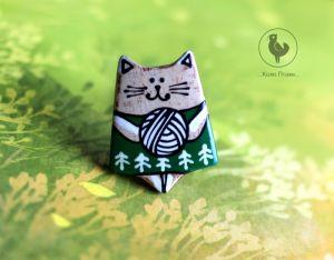 Броши ручной работы Брошь котик