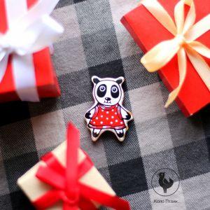 Коло Птахи Брошь панда