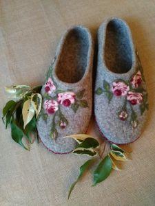 """Женская обувь Войлочные домашние тапочки """"Цвет розы"""""""