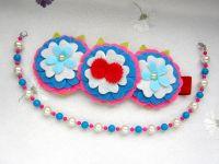 Повязка-веночек из фетра и ожерелье для девочки