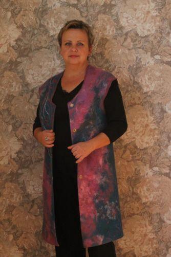 Удлиненный женский жилет, ручной работы