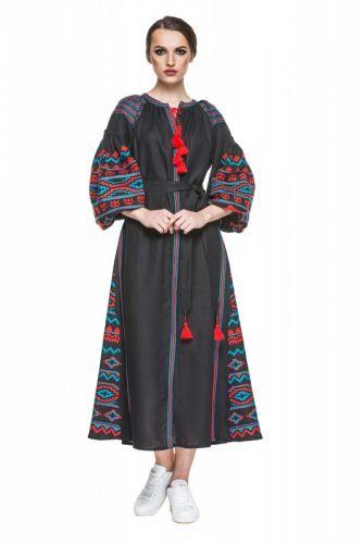 """Платье вышиванка черная """"Бесконечность"""""""