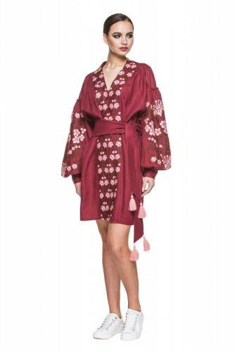 """Платье вышиванка бордовая """"Лилея"""""""