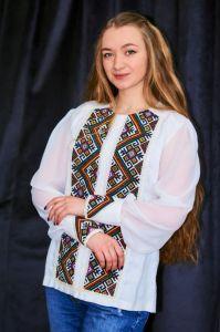 Колода Людмила Рубашка из молочного льна, вышивка геометрическая, молочное кружево