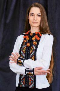 Колода Людмила Рубашка белая вышивка ручная низинкой и черное кружево