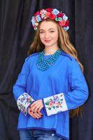Рубашка синий лен с ручной вышивкой на рукавах цветы