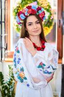 Рубашка из белого льна, рукав реглан, вышивка ручная крестик цветы