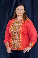 Рубашка из льна кораллового цвета и ручная вышивка цветы крестиком