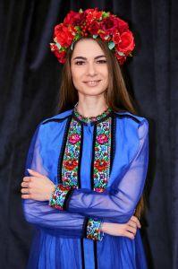Колода Людмила Платье-туника синего льна на пуговицы, вышивка яркие цветы крестиком