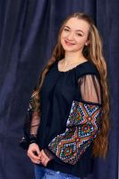 Сорочка чорна з ручною вишивкою хрестиком
