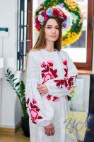 Платье-кардиган белый лен вышивка тамбурный шов красные цветы