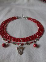 """Комплект Серьги и Ожерелье из красного коралла на 5 низок с подвеской """"Ангел"""""""
