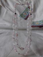 Комплект: сережки і намисто з рожевого кварцу на дві низки