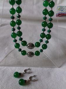 Комплект Серьги и Ожерелье с хризопраза