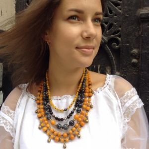 Ожерелье из цитрина Згарда ожерелье на 5 низок с шелестом