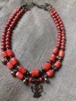 Ожерелье на 2 ряда из натурального коралла и подвеска Ангел