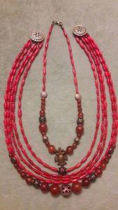 Комплект Ожерелье на 5 низок + ожерелье на одну ряд из красного коралла и сердолика