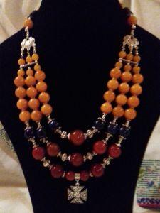 Ожерелье из лазурита Комплект Ожерелье патриотическое на 3 ряда