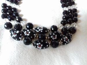 Комплект Ожерелье на 3 ряда из агата и серьги