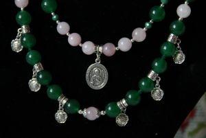 Комплект: Серьги и Ожерелье и Браслет из розового кварца и хризопраза